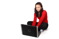 Teen girl on laptop