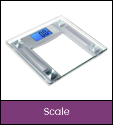 Silver and translucent bathroom scale