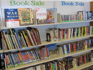 Used book sale shelves at Civic Center Library