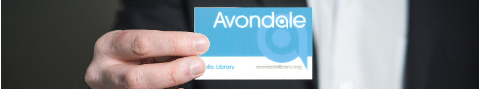 Man holding blue Avondale Public Library card