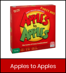 Apples to Apples game inside red frame