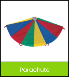 Multicolored parachute game image with green frame that links to catalog record