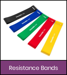 Multi-color resistance bands in purple frame image with link to catalog record