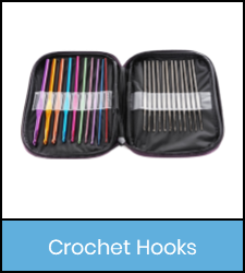 Pouch of mult-colored crochet hooks in blue frame image with link to catalog record