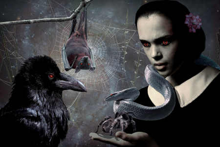 Female vampire with raven, bat, snake, and spiderweb