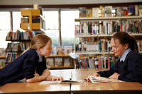 Teen girls in library