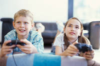 Boy and girl gaming