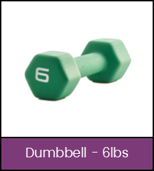 Green 6 pound dumbbell