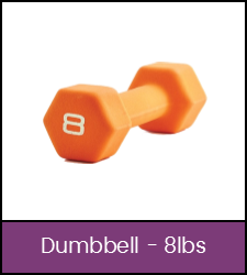 Orange 8 pound dumbbell