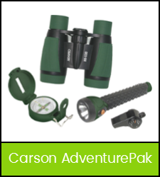 Binoculars, compass, flashlight, whistle set image with green fraome that links to the catalog record