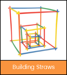 Cubes built with multi-colored straws