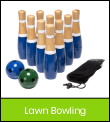 Mini bowling pins, balls and bag in green frame image with link to catalog record