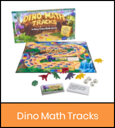 Dino Math Tracks game in orange frame image with link to catalog record