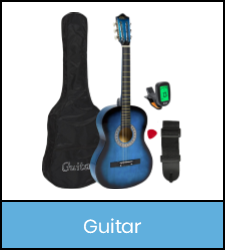 Acoustic guitar with case, pick, strap, and tuner in blue frame image with link to catalog record
