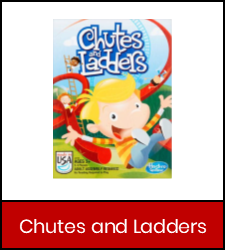 Chutes and Ladders game image in red frame with link to catalog record