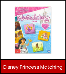 Disney Princess Matching  game image in red frame with link to catalog record