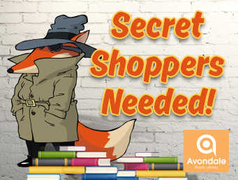 "Fox in trench coat, hat, and sunglasses next to ""Secret Shoppers Needed"" in front of brick wall and book stacks"