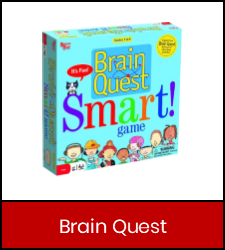 """Brain Quest"" board game in red box with link to catalog record"