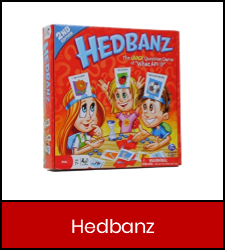 """Hedbanz"" board game in red box with link to catalog record"
