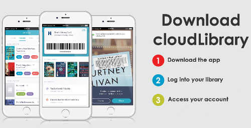 """Download cloudLibrary. 1) Download the app 2) Log into your library 3) Access your account"" with smartphones displaying the app"