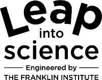 """Leap into science Engineered by The Franklin Institute"" black and white logo"
