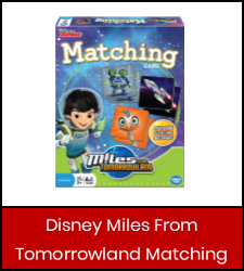 """Disney Junior Miles From Tomorrowland"" board game in red box with link to catalog"