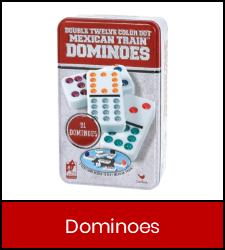 Double Twelve Mexican Train Dominoes game inside red frame