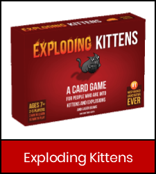 Exploding Kittens game in red frame