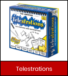 Telestrations game in red frame